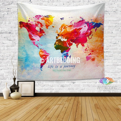 World map Quote wall Tapestry, world map watercolor inspirational quote wall hanging, Splashes of paint World map wall Tapestry, Grunge world map wall tapestry, Hippie tapestry wall hanging, bohemian wall tapestries