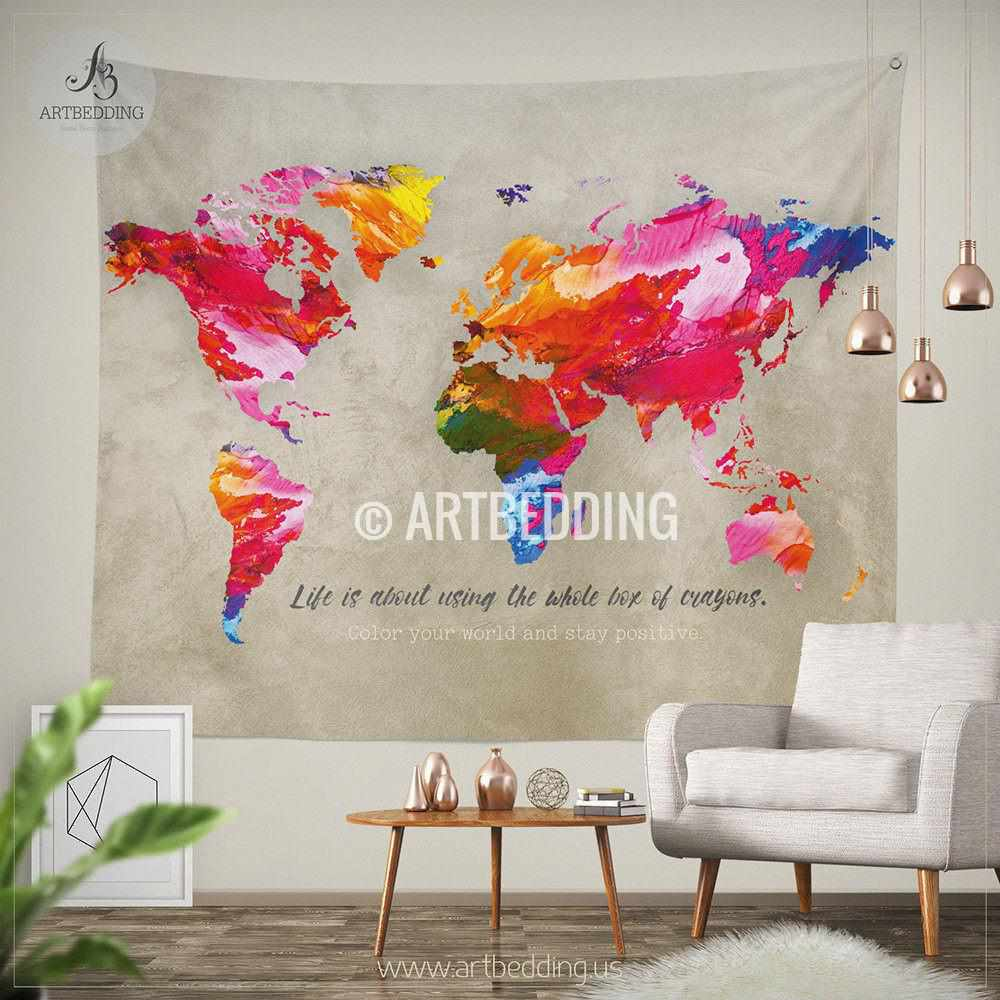 World map quote wall tapestry world map watercolor inspirational world map quote wall tapestry world map watercolor inspirational quote wall hanging splashes of gumiabroncs Images