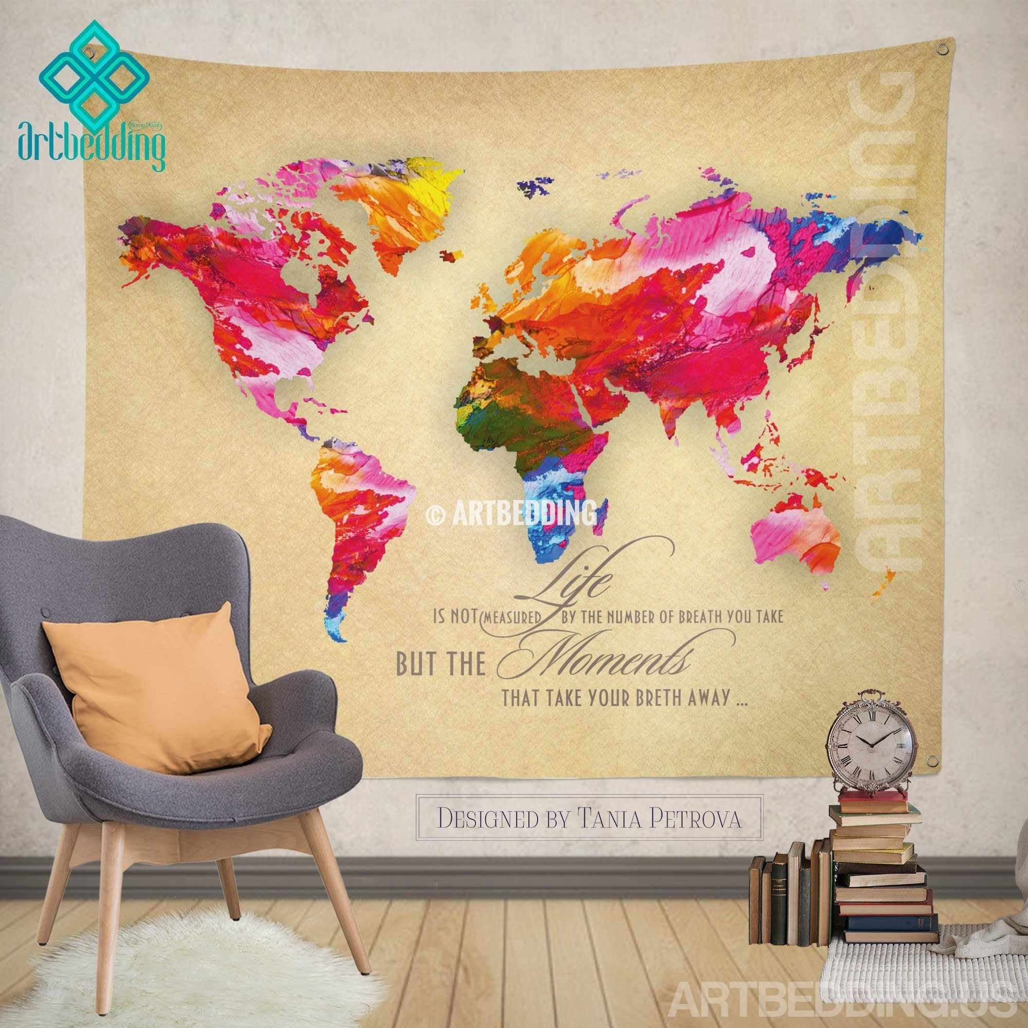 World Map Tapestry Wall Hanging world map quote wall tapestry, world map watercolor inspirational