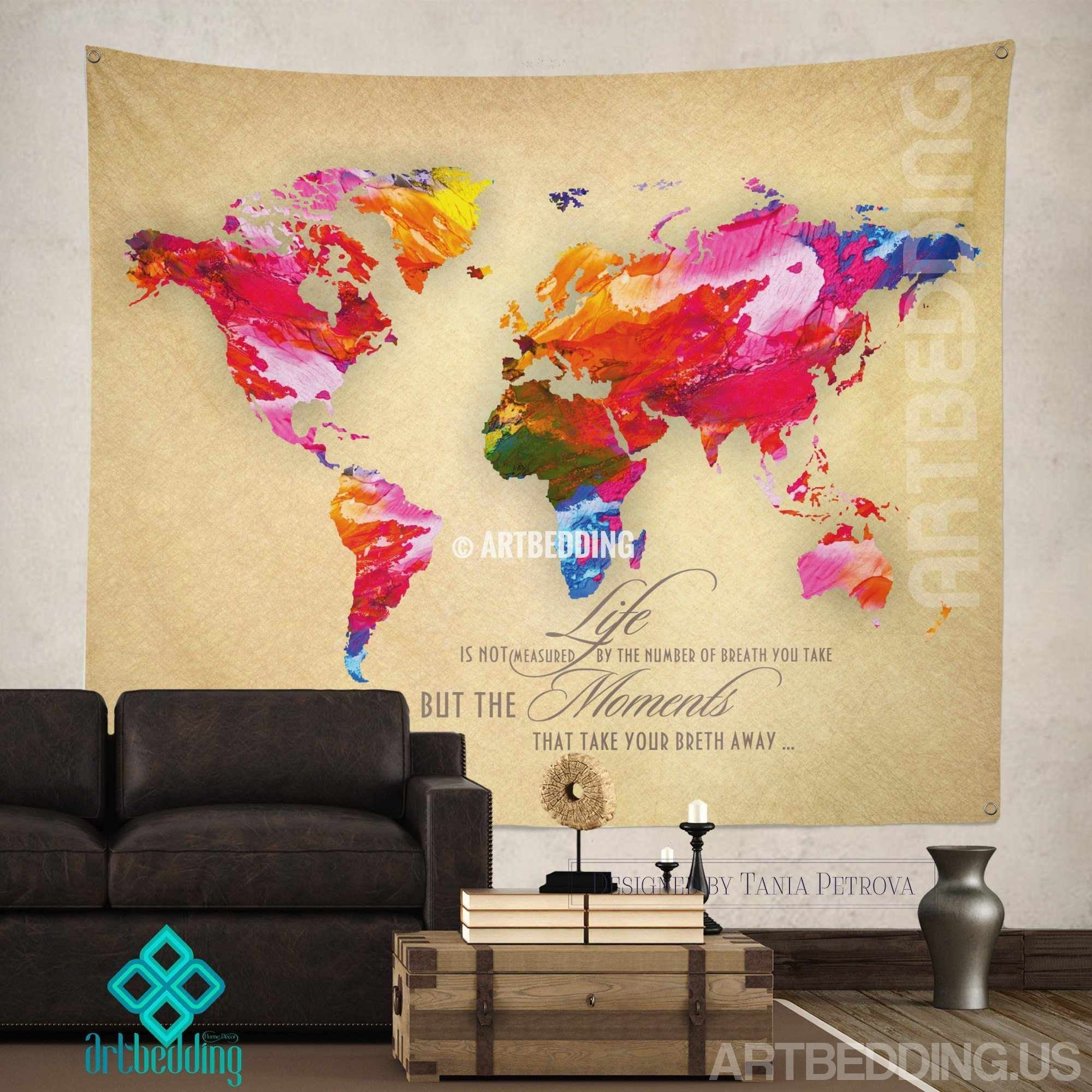 World map Quote wall Tapestry, world map watercolor inspirational ...