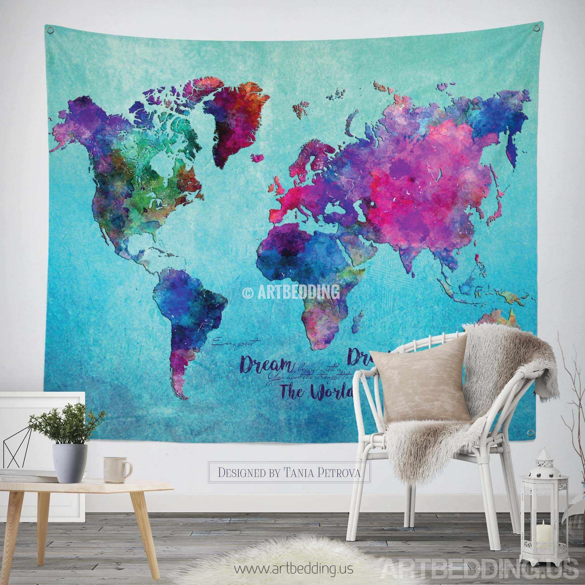 World map watercolor wall Tapestry, Grunge world map wall tapestry