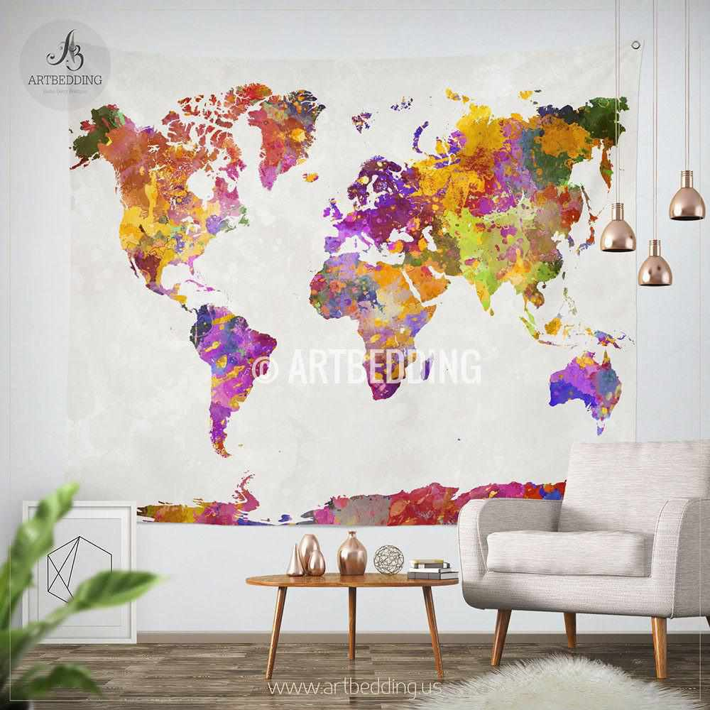 World map watercolor wall tapestry grunge world map wall tapestry world map watercolor wall tapestry grunge world map wall tapestryhippie tapestry wall hanging gumiabroncs Images