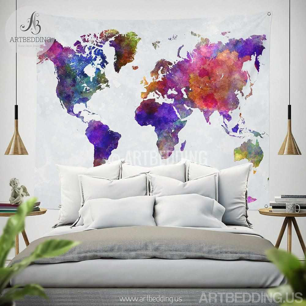 World map watercolor wall tapestry grunge world map wall tapestry world map watercolor wall tapestry grunge world map wall tapestryhippie tapestry wall hanging gumiabroncs Image collections
