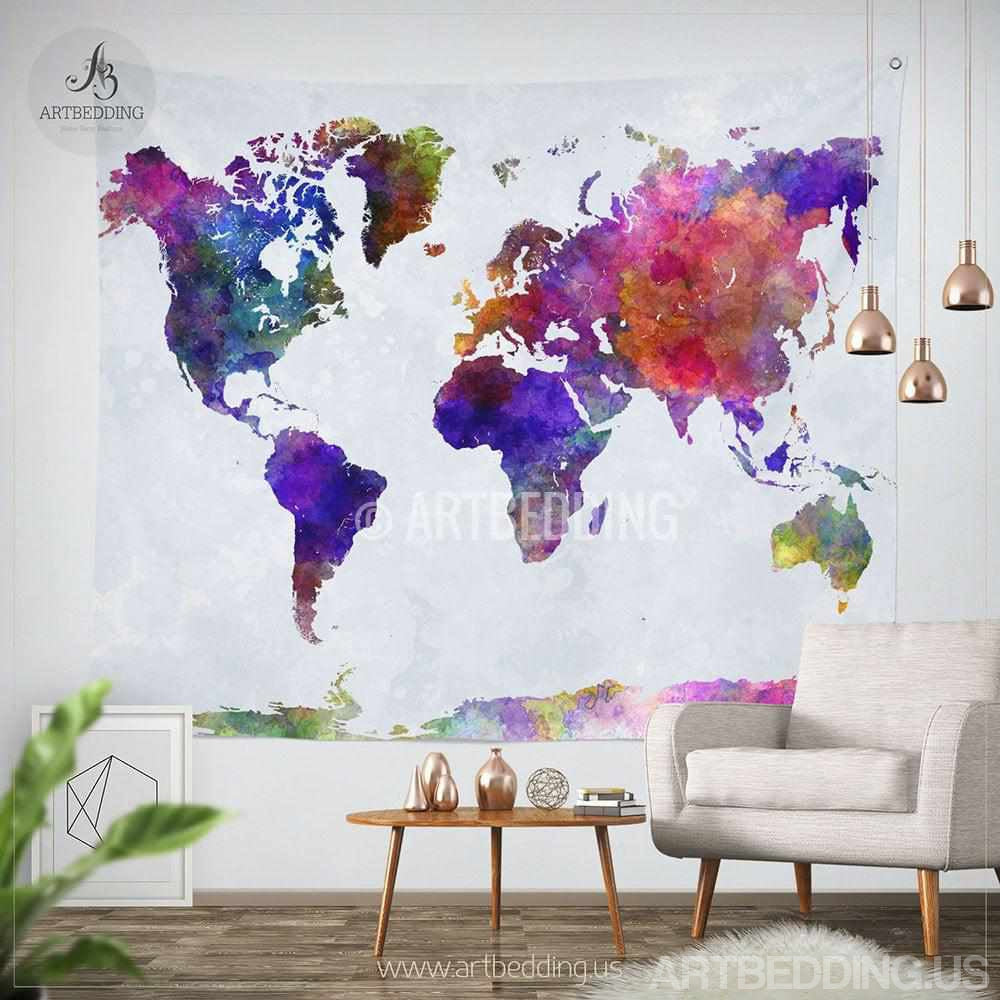 World Map Tapestry Wall Hanging world map watercolor wall tapestry, grunge world map wall tapestry