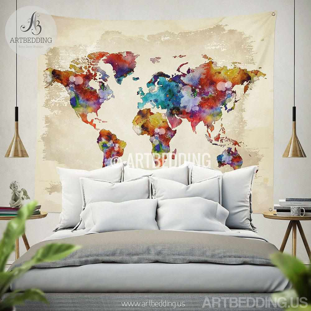world map watercolor wall tapestry grunge world map wall tapestry wall hanging