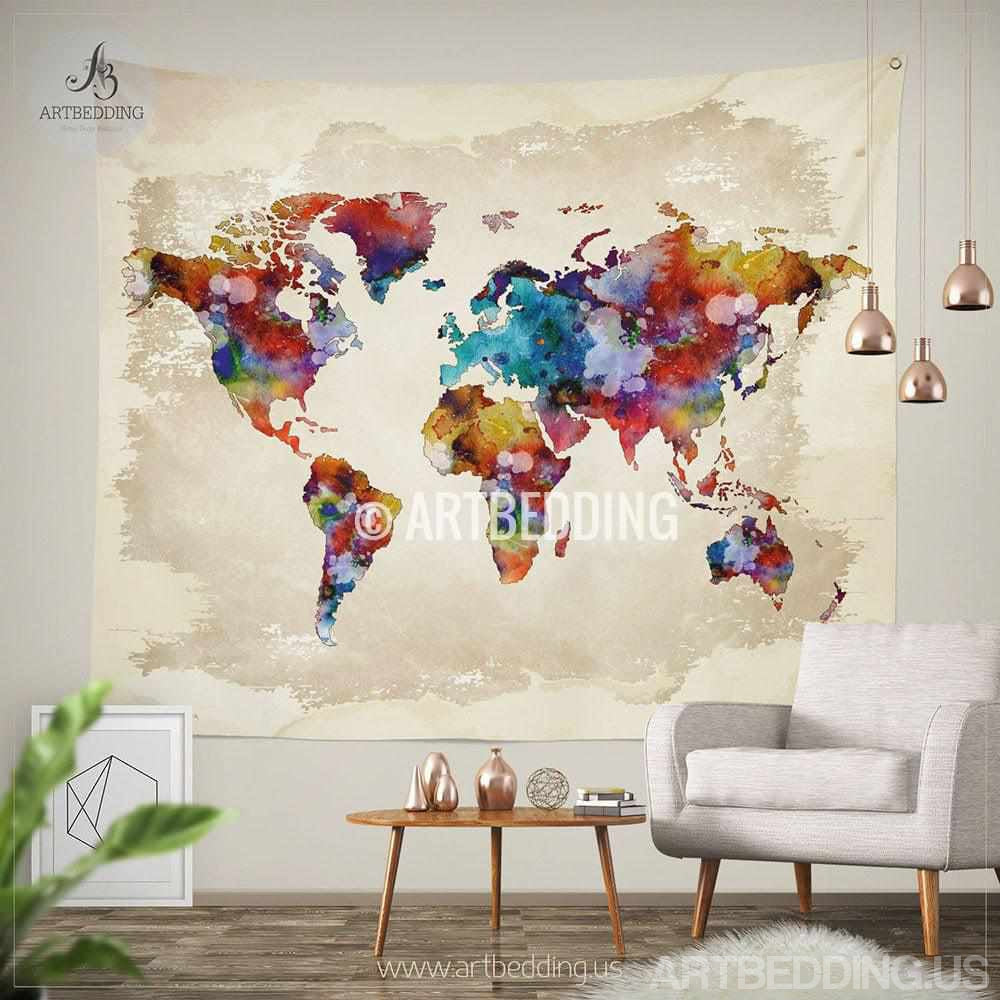 World Map Watercolor Wall Tapestry Grunge TapestryHippie Hanging