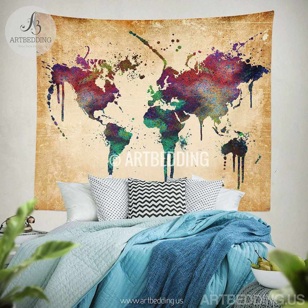 world map watercolor wall tapestry grunge world map wall tapestry  -  world map watercolor wall tapestry grunge world map wall tapestryhippietapestry wall hanging