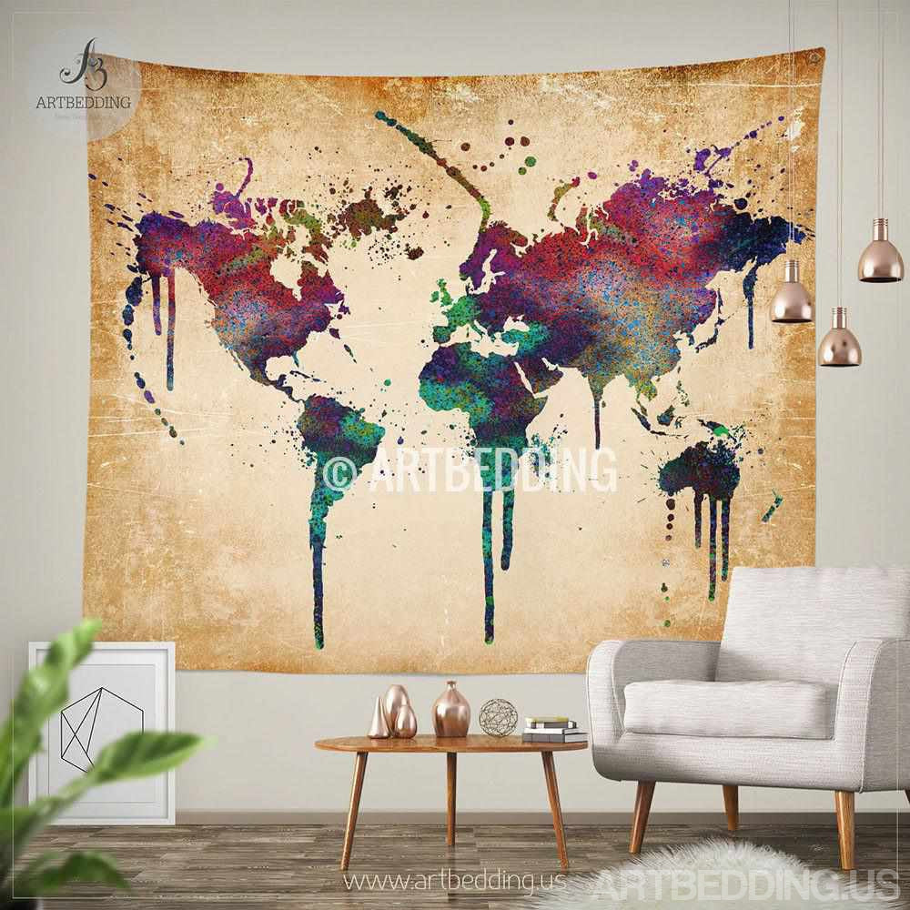 World Map Wall Hanging world map watercolor wall tapestry, grunge world map wall tapestry