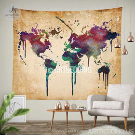 Wall murals wall tapestries canvas wall art wall decor tagged world map watercolor wall tapestry grunge world map wall tapestryhippie tapestry wall hanging gumiabroncs Gallery