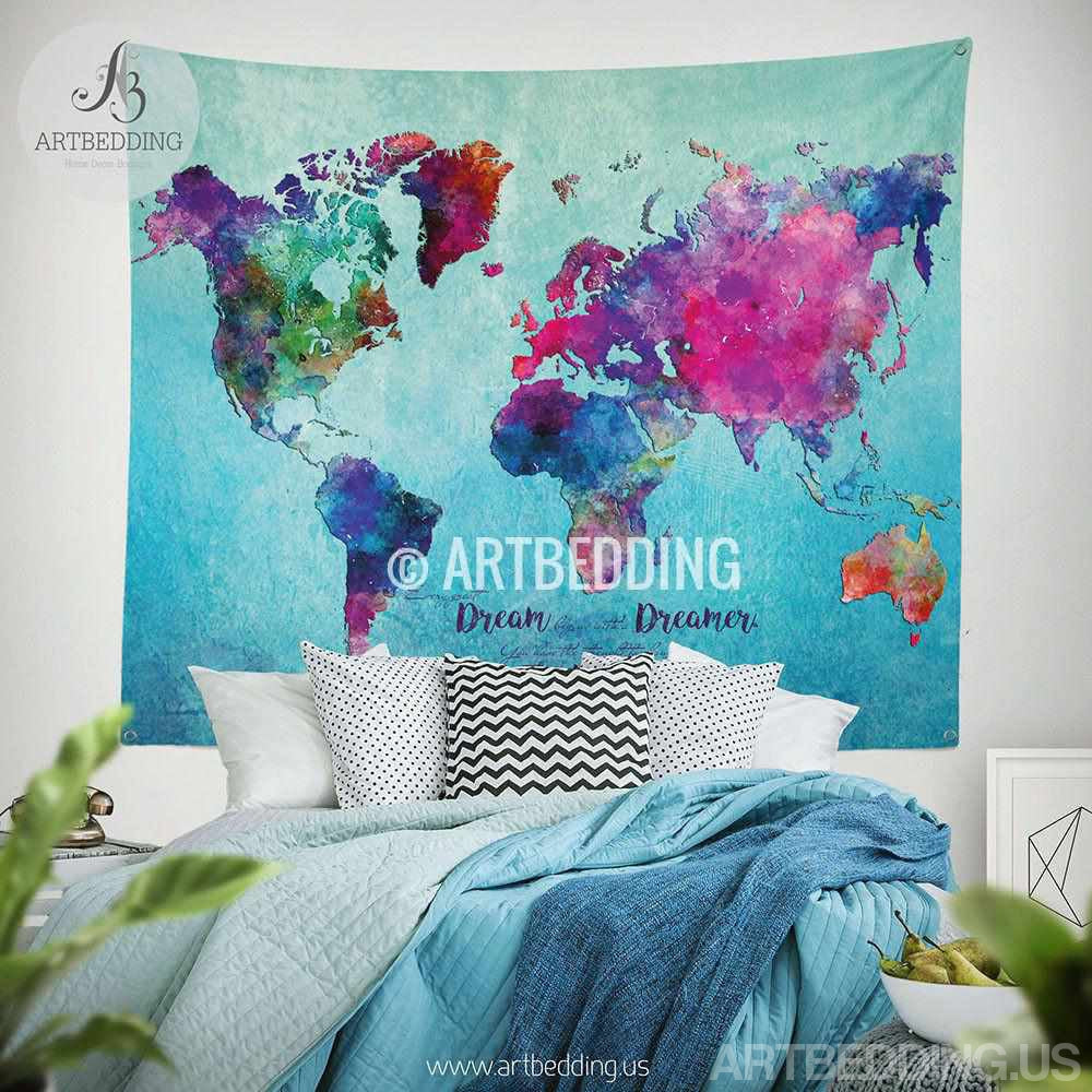World map watercolor wall Tapestry, Grunge world map wall tapestry,Hippie tapestry wall hanging, bohemian wall tapestries, Modern watercolor map tapestries, Watercolor grunge bohemian decor Tapestry