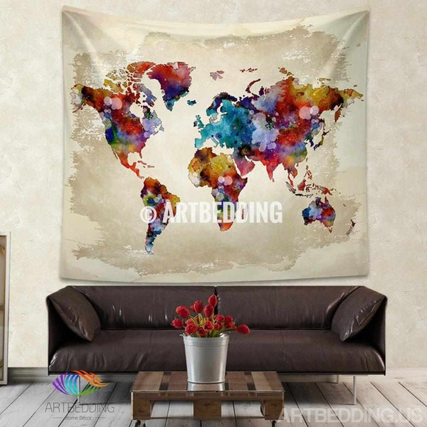 World Map Watercolor Wall Tapestry Grunge World Map Wall