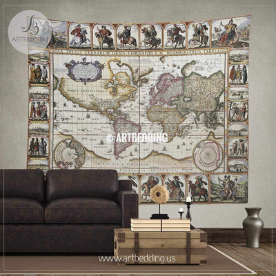 World old map 1652 wall tapestry, vintage interior map wall hanging, old map wall decor, vintage map wall art print Tapestry