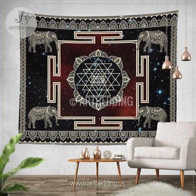 X Large Boho Tapestry, Sacred Yantra wall tapestry, Hippie tapestry wall hanging, Spiritual bohemian decor Tapestry