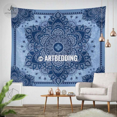 XL size Bohemian TAPESTRY, Indigo blue mandala Wall hanging, Boho Mandala Wall Decor, Mandala Indie Tapestry, artbedding wall art Tapestry