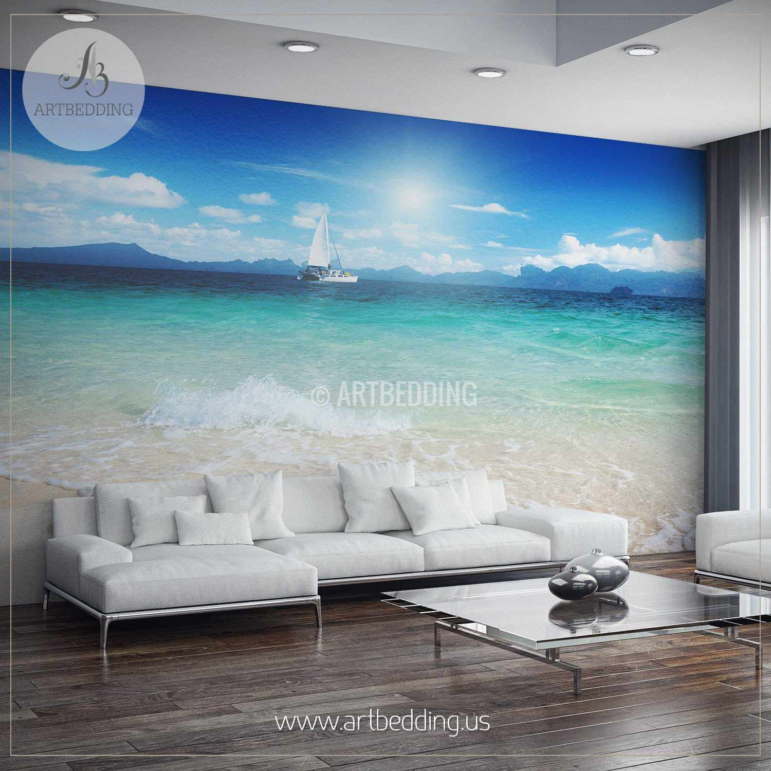 Yacht From The Shore Wall Mural, Self Adhesive Peel U0026 Stick Photo Mural,  Nature ... Part 91