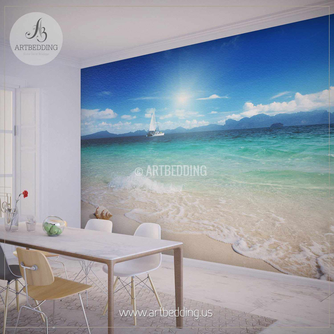 Yacht from the Shore Wall Mural, Self Adhesive Peel & Stick Photo Mural, Nature photo mural home decor wall mural