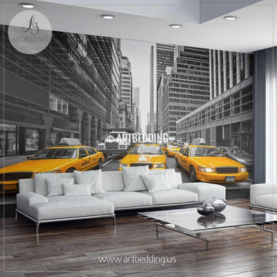 Yellow cabs in the City Wall Mural, USA Photo Mural, USA wall décor wall mural