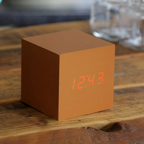 CUBE COPPER CLICK CLOCK / RED LED