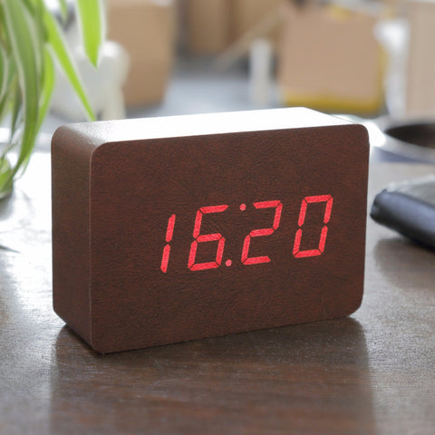 Brick Leatherette Click Clock / Red LED
