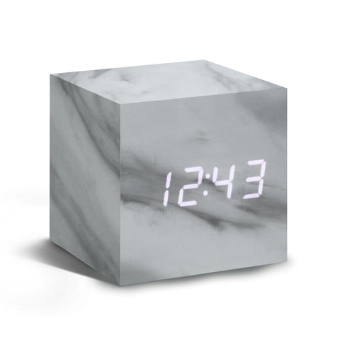 Cube Marble Click Clock/White LED