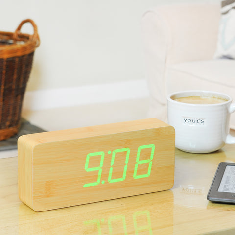 Slab Beech Click Clock / Green LED