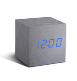 Cube Aluminium Click Clock / Blue LED