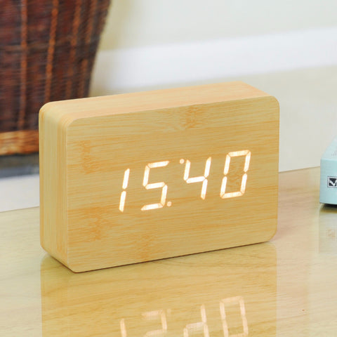 Brick Beech Click Clock / White LED