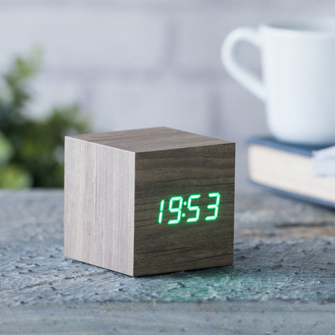 Cube Ash Click Clock/Green LED