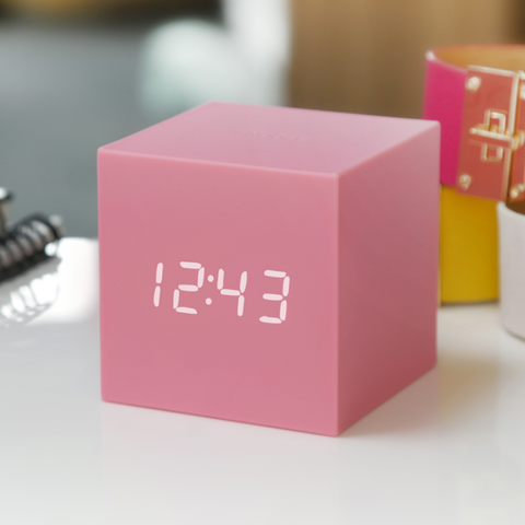 Gravity Cube Click Clock Pink