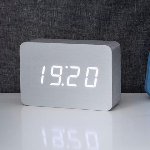 Brick Aluminium Click Clock / White LED