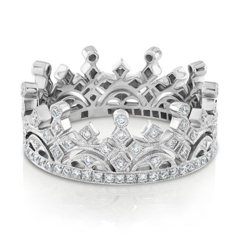 18ct white gold diamond set crown ring