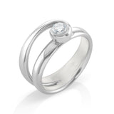 18kt white gold & diamond ladies dress ring