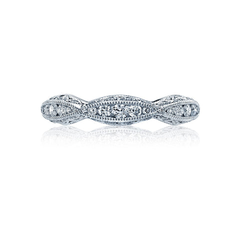 Classic Crescent Pave Diamond Wedding Band