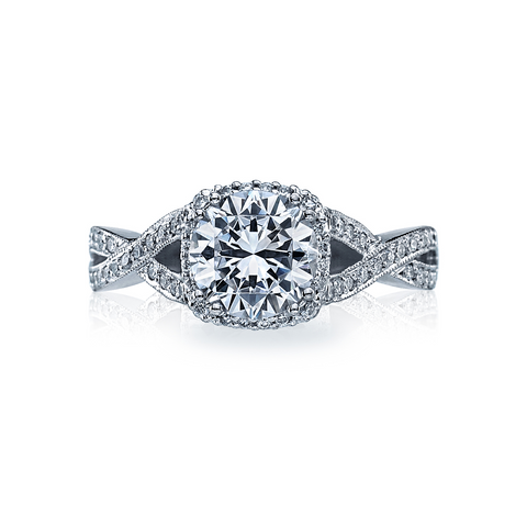 Tacori Pave Diamond Halo White Gold Engagement Ring (2627RD)