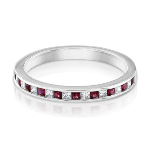 Ruby and diamond princess cut eternity ring