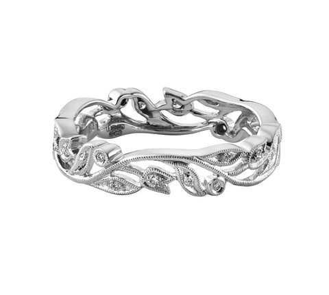 Slim Floral Diamond 'Vine' Band