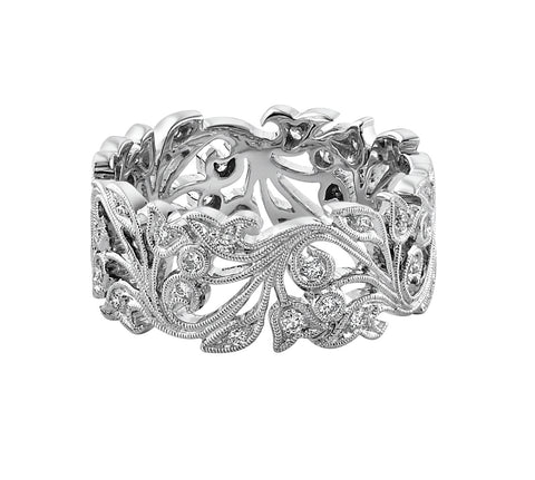 Wide Floral Diamond Band