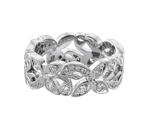 Ungar & Ungar Wide Floral Diamond Band