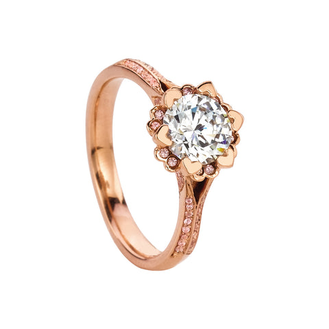 MaeVona Iris Rose Gold Engagement Ring.