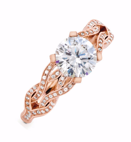 MaeVona Noss Rose Gold Engagement Ring. Diamond Engagement Ring.