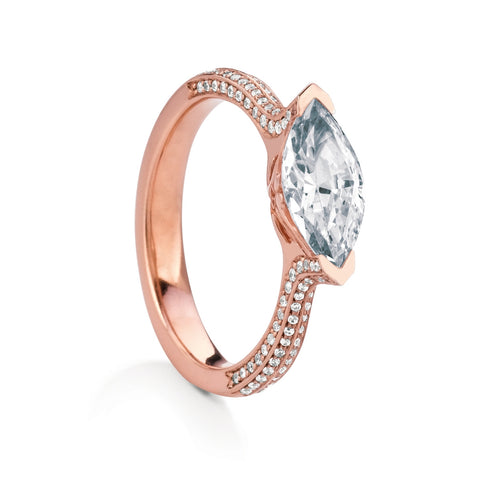 MaeVona Skye Rose Gold and Pave Diamond Engagement Ring.