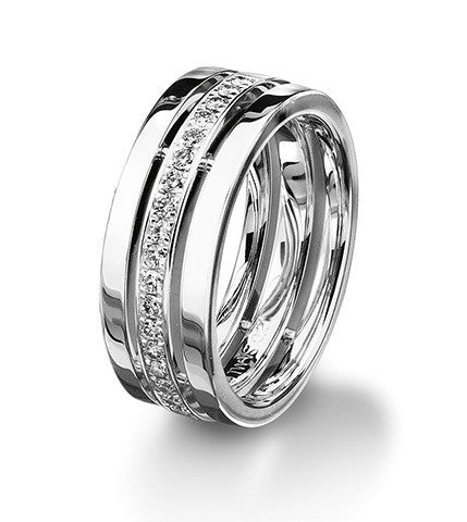 Platinum and diamond Furrer Jacot wedding band. Magiques Collection.