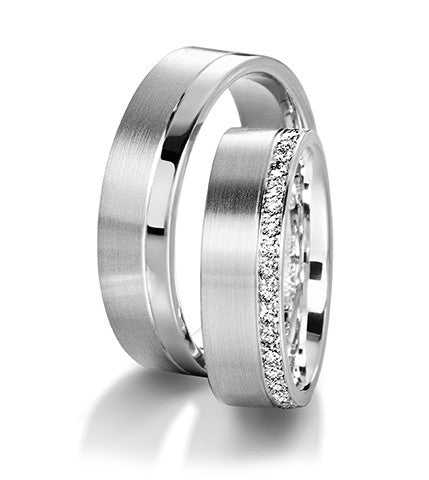 Platinum and diamond Furrer Jacoti wedding band. Magiques Collection.
