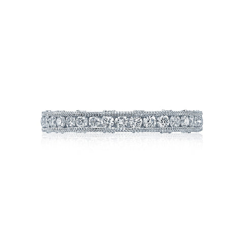 Tacori HT2510B1/2X Channel Set Diamond Wedding Ring, Crescent Details and Milgrain Edges