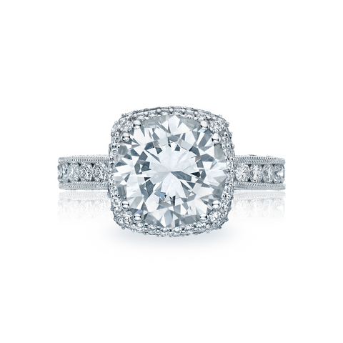 Tacori Pave Diamond Halo Engagement Ring (HT2607RD)