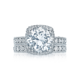 Tacori Pave Diamond Halo Engagement Ring with Diamond Wedding Ring(HT2607RD)