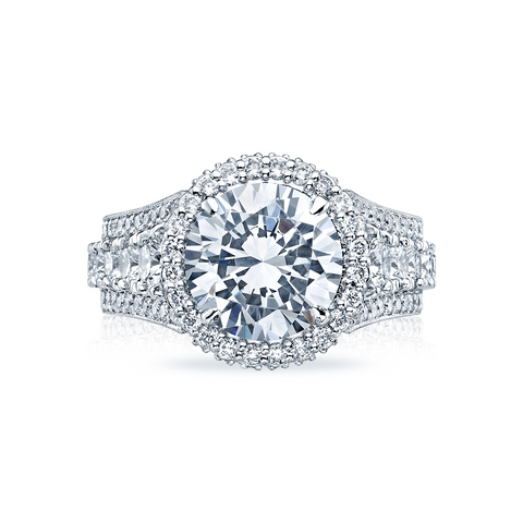 Tacori Pave Diamond Halo Engagement Ring (HT2613RD)