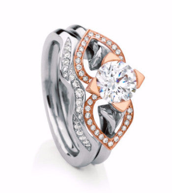 MaeVona Eriskay. Rose gold, platinum and diamond engagement ring.