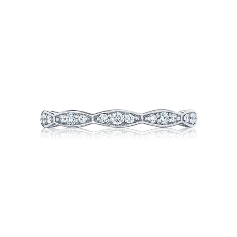 Tacori 46-2 Sculpted Crescent Diamond Wedding Band, Diamond Ribbon Band