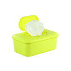 Opened neon yellow box of baby wipes